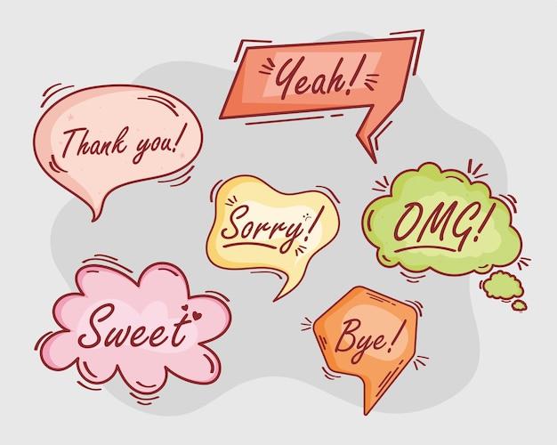 Balões de texto seis ícones