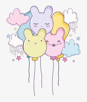 Balões de urso com nuvens e stras para decoração de aniversário