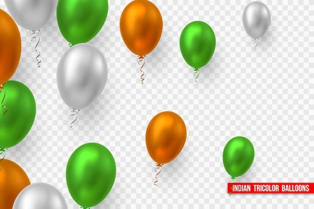 Balões de vetor no tradicional tricolor da bandeira indiana. elementos decorativos realistas para feriados nacionais da índia. isolado em fundo transparente.