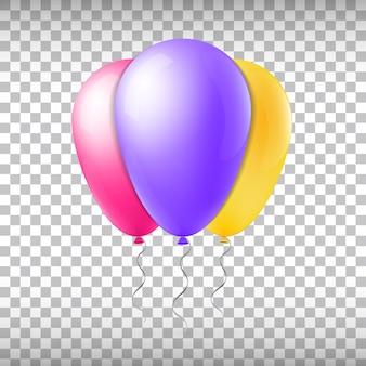 Balões de voo coloridos em roxo, vermelho e amarelo isolado em transparente