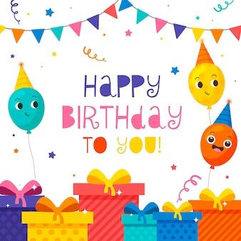 Balões desenhados à mão, confetes e presentes para o fundo do aniversário