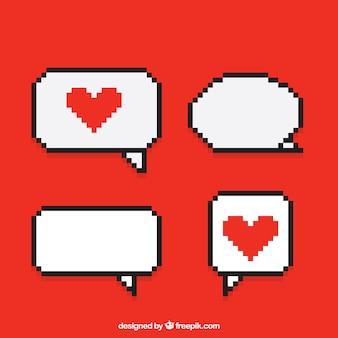 Balões diálogos com corações pixelated