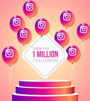 Balões do instagram com ícone e moldura de texto com pedestal de plataforma realista para a celebração e vitrine da conquista de um marco