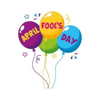 Balões do primeiro de abril com confete