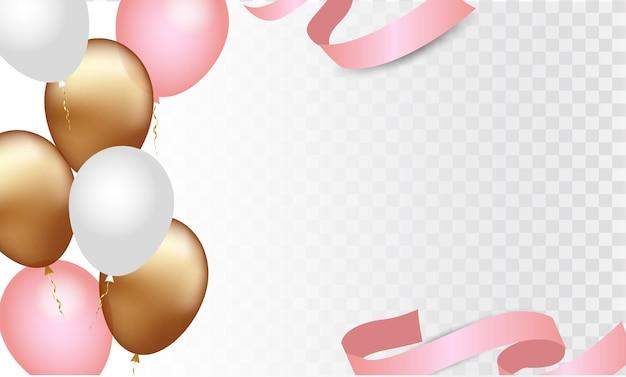Balões dourados, brancos e rosa isolados