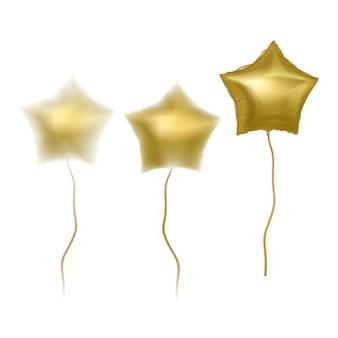 Balões dourados com efeito de desfoque