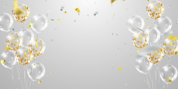 Balões dourados de confete transparentes em fundo transparente