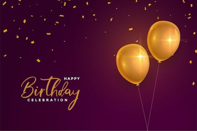 Balões dourados de feliz aniversário realistas em fundo marrom