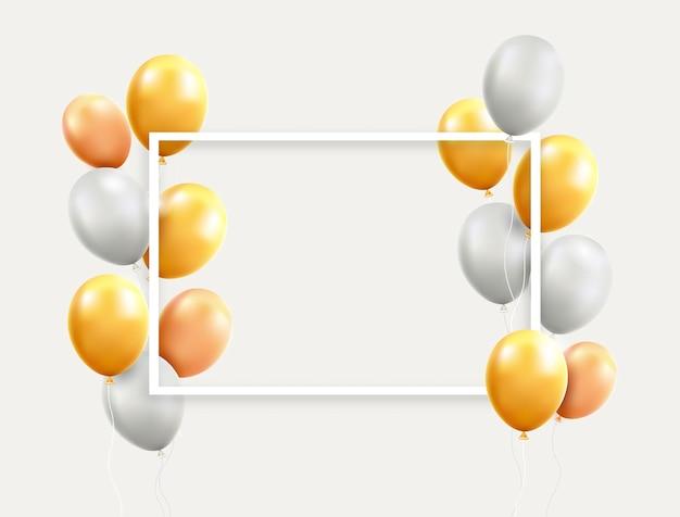 Balões dourados e brancos com ilustrações em quadros