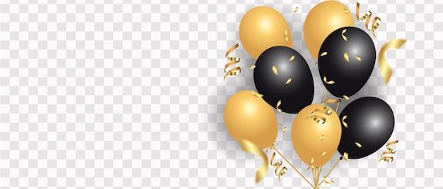 Balões dourados e pretos isolados no branco