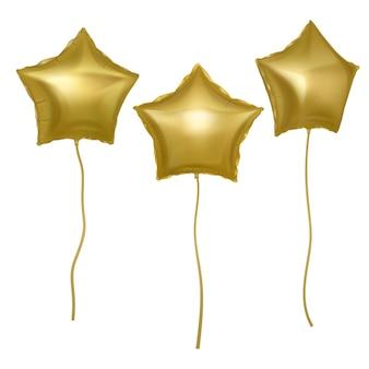Balões dourados em forma de estrelas
