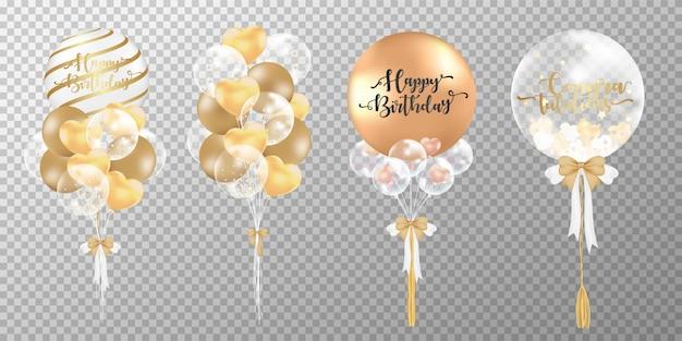 Balões dourados sobre fundo transparente.