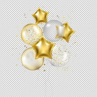 Balões e confetes de estrela dourada de aniversário com malha gradiente