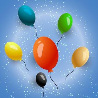 Balões e confetes feliz aniversário