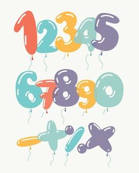 Balões e fitas de brinquedo dourado. dígito numérico. férias e festa. conjunto de ícones 3d