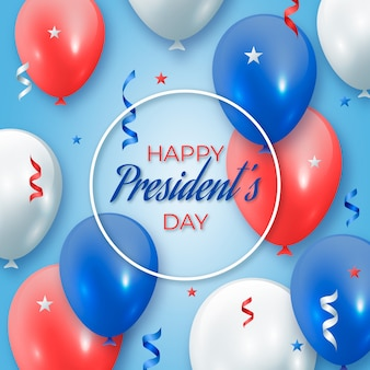 Balões e fitas nas cores da bandeira dos estados unidos