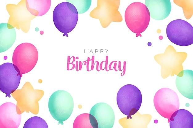 Balões e fundo aquarela feliz aniversário