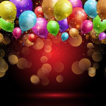 Balões e fundo de confete