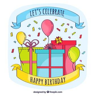 Balões e presentes de aniversário desenhados à mão