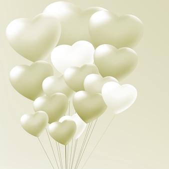 Balões elegantes coração dia dos namorados.