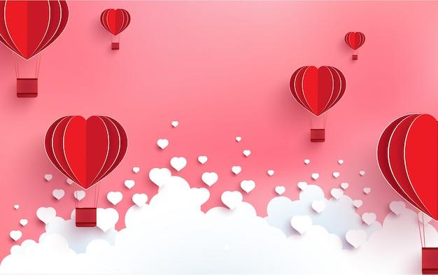 Balões em forma de amor em um dia cheio de amor