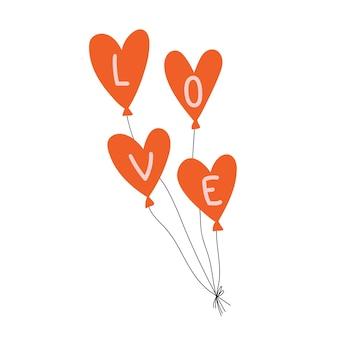 Balões em forma de coração com as letras amor cartão de felicitações para o dia dos namorados