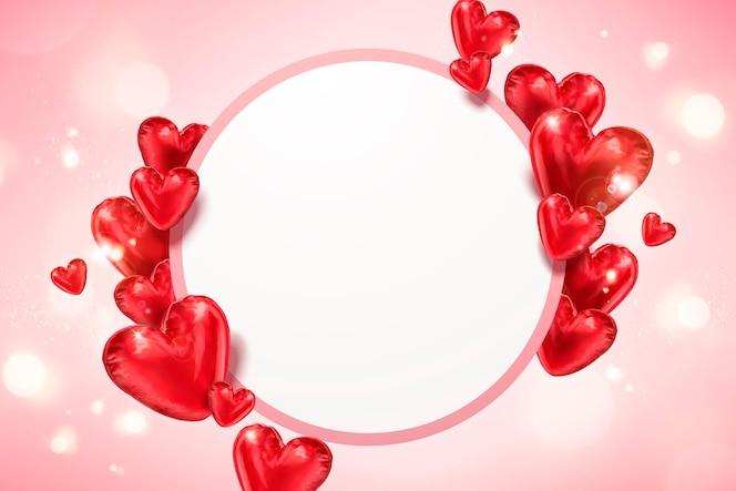 Balões em forma de coração em ilustração 3d