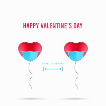 Balões em forma de coração para ilustração de aviso de distanciamento social. conceito de dia dos namorados