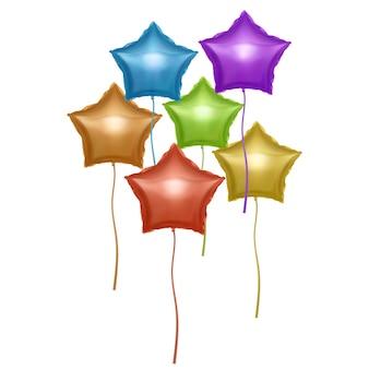 Balões em forma de estrelas. balões coloridos brilhantes