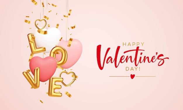 Balões em formato de coração rosa e branco e balões de amor com palavras douradas