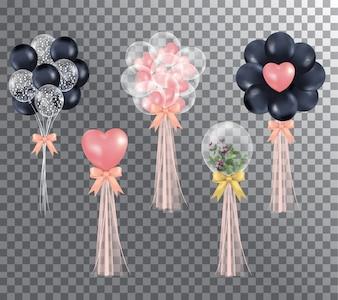 Balões em fundo transparente