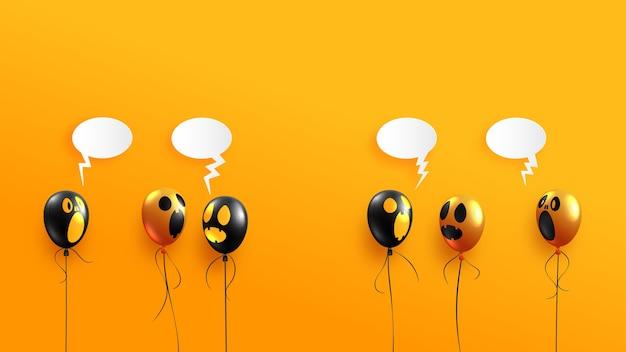 Balões fantasmas de halloween em fundo laranja. banner de feliz dia das bruxas