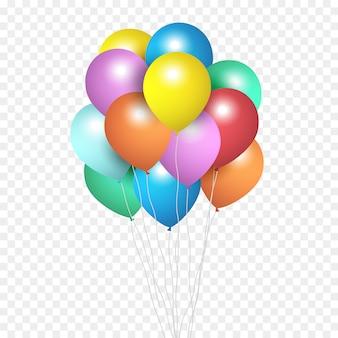 Balões festivos, grupo de balões de hélio de cor isolados em transparente