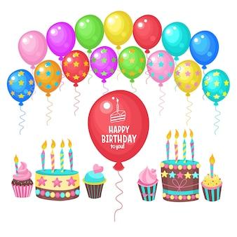 Balões multicoloridos. cartão de feliz aniversário.