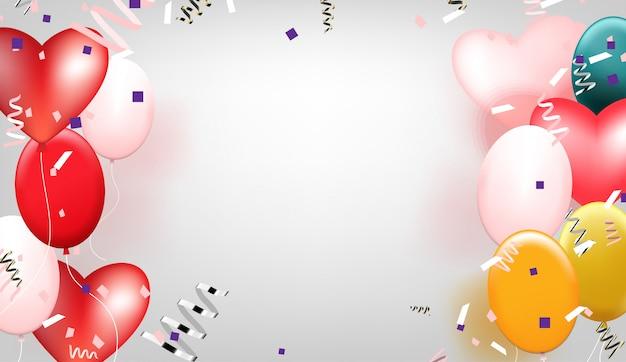 Balões multicoloridos com confetes em fundo cinza