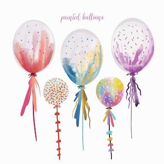 Balões pintados, coleção desenhada à mão