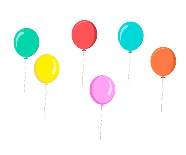 Balões planos coloridos em fundo branco