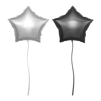 Balões prateados e pretos incrustados com a forma de estrelas