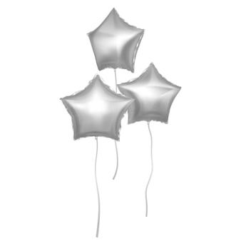 Balões prateados incrustados com a forma de estrelas prateados