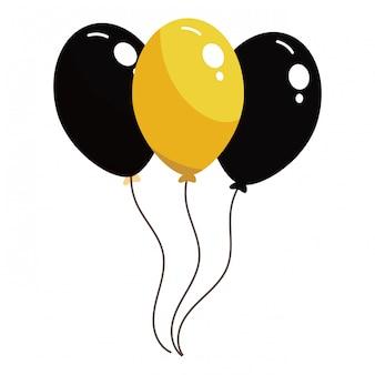 Balões pretos e amarelos