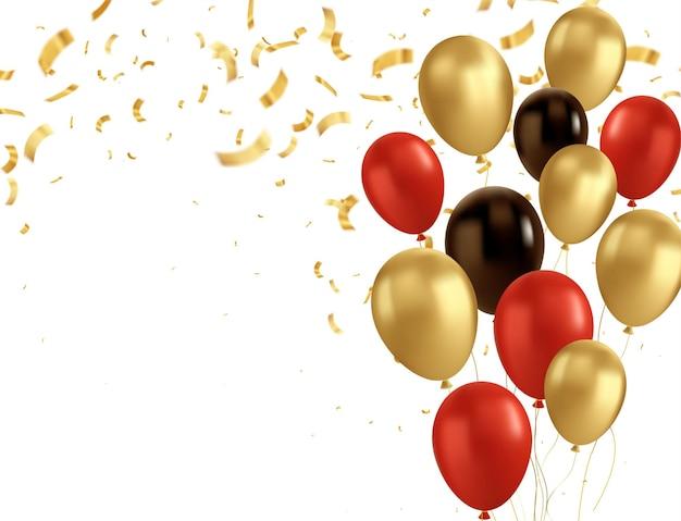 Balões pretos e dourados e confetes dourados