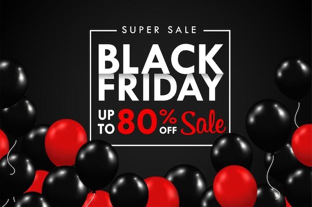 Balões pretos e vermelhos estão flutuando. com uma caixa de texto de promoção especial da blackfriday