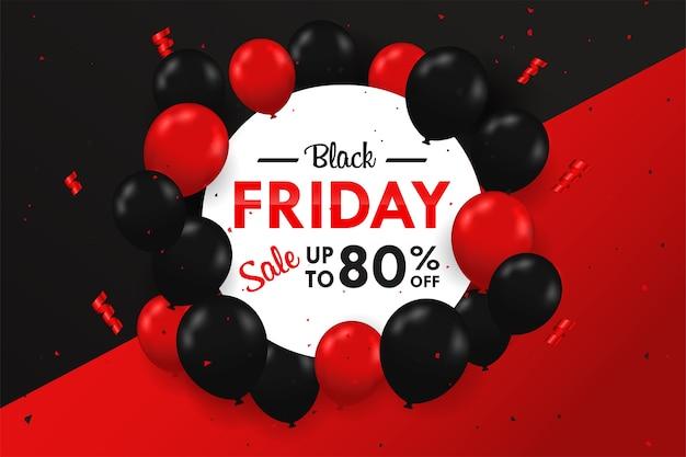 Balões pretos e vermelhos flutuando ao lado da caixa de texto blackfriday venda festiva especial.