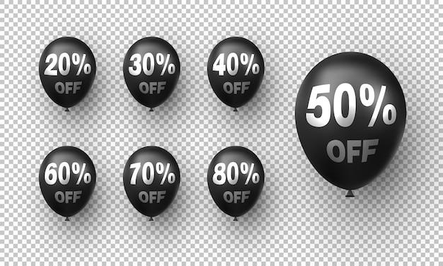 Balões pretos modernos com porcentagem de descontos
