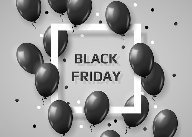 Balões pretos voando aleatoriamente sobre o quadro. fundo preto sexta-feira com espaço para texto.