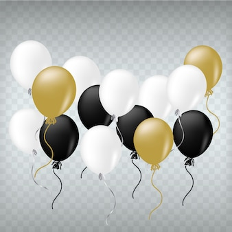 Balões realistas branco preto e dourado.
