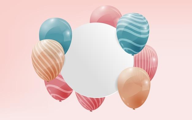 Balões realistas com banner de espaço de cópia