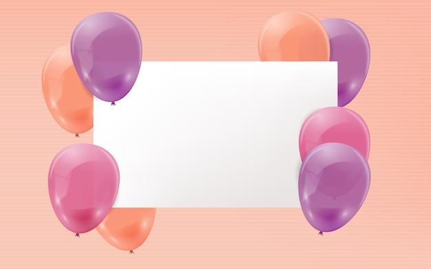Balões realistas com banner em branco