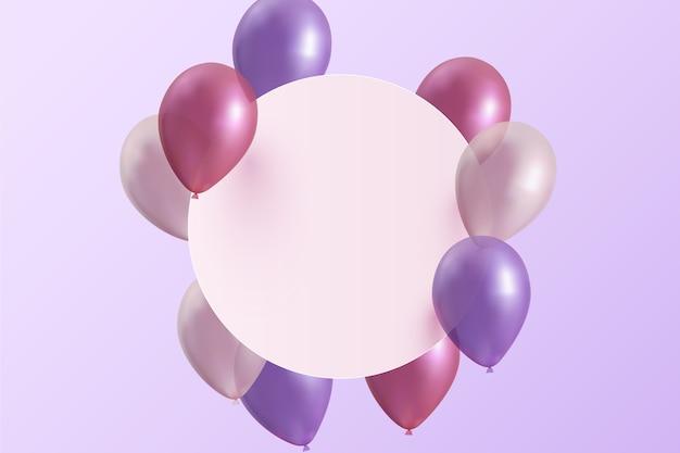 Balões realistas com banner vazio