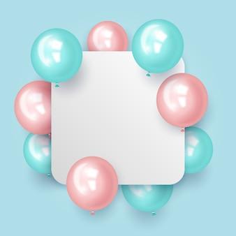 Balões realistas com conceito de banner em branco